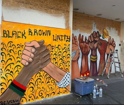 New murals in Downtown Oakland by Chris Gazaleh, in response to the George Floyd protests.