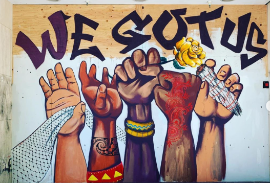 """We Got Us,"" in Downtown Oakland, by artists Cece Carpio (@cececarpio), Nisha Kaur Sethi (@nisha.k.sethi), Priya Handa (@eightbirdz), and Trust Your Struggle Collective (@trustyourstrugglecollective). (Photos by Emma Webster) https://www.7x7.com/downtown-oakland-murals-black-lives-matter-2646168310/indigenous-and-third-world-peoples-for-black-lives-by-cece-carpio-and-indal-rubin"